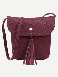 Burgundy Tassel Trim Flap Bucket Bag