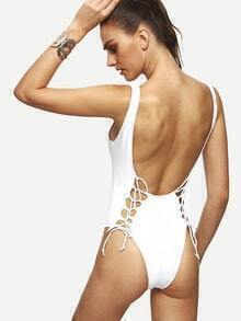 White Lace Up Scoop Back One Piece Swimwear