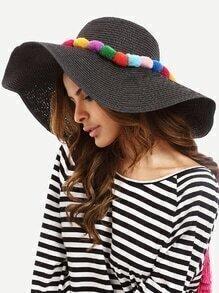 Black Vacation Pom-pom Large Brimmed Straw Hat