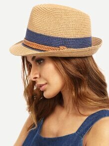 Braided Trim Straw Bowler Hat