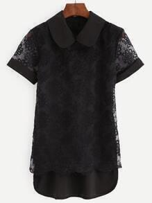 Embroidery Black Sheer Mesh Short Sleeve Blouse