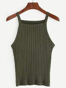 Plain Army Green Knit Cami Top