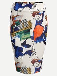 Jupe moulant imprimé abstrait avec fermeture éclair