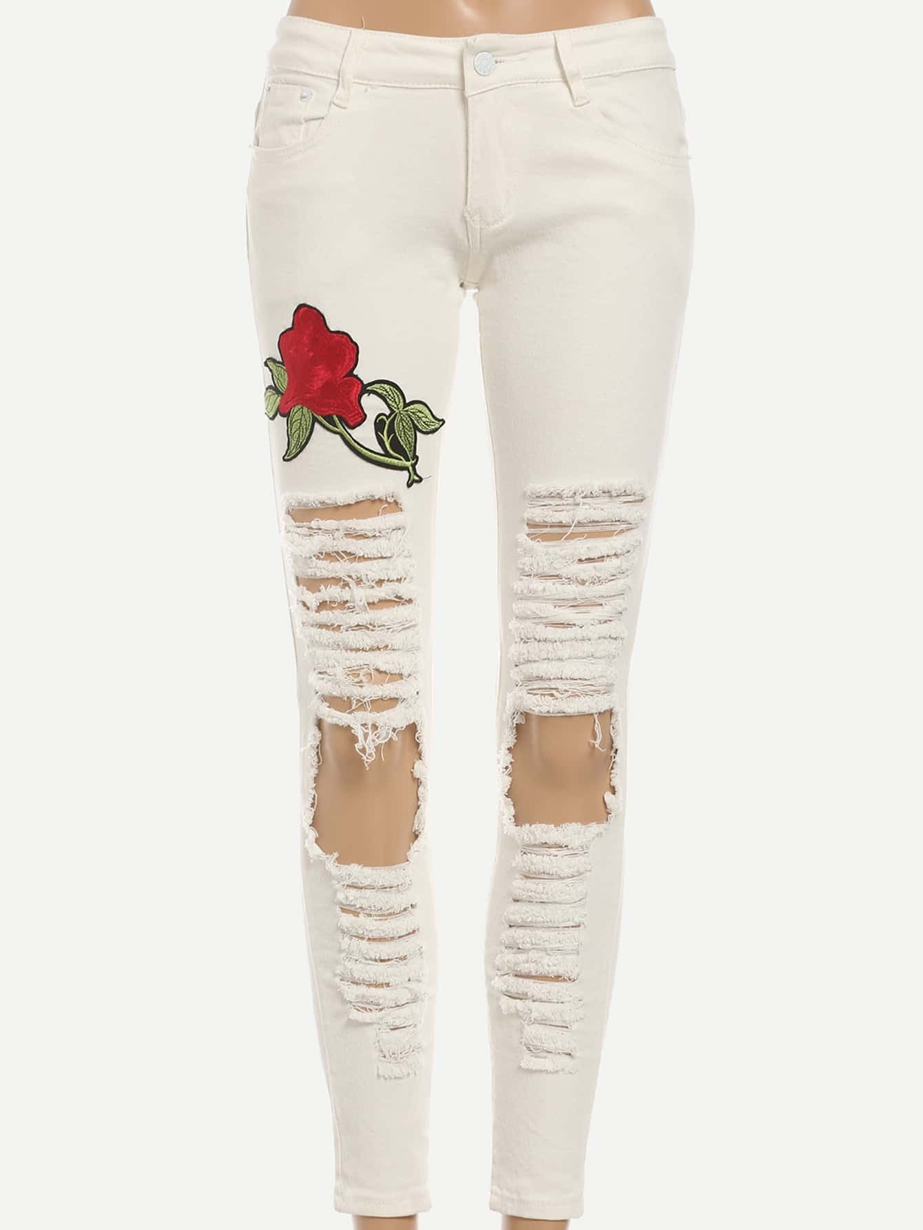 Rose embroidered white ripped skinny jeansfor women romwe