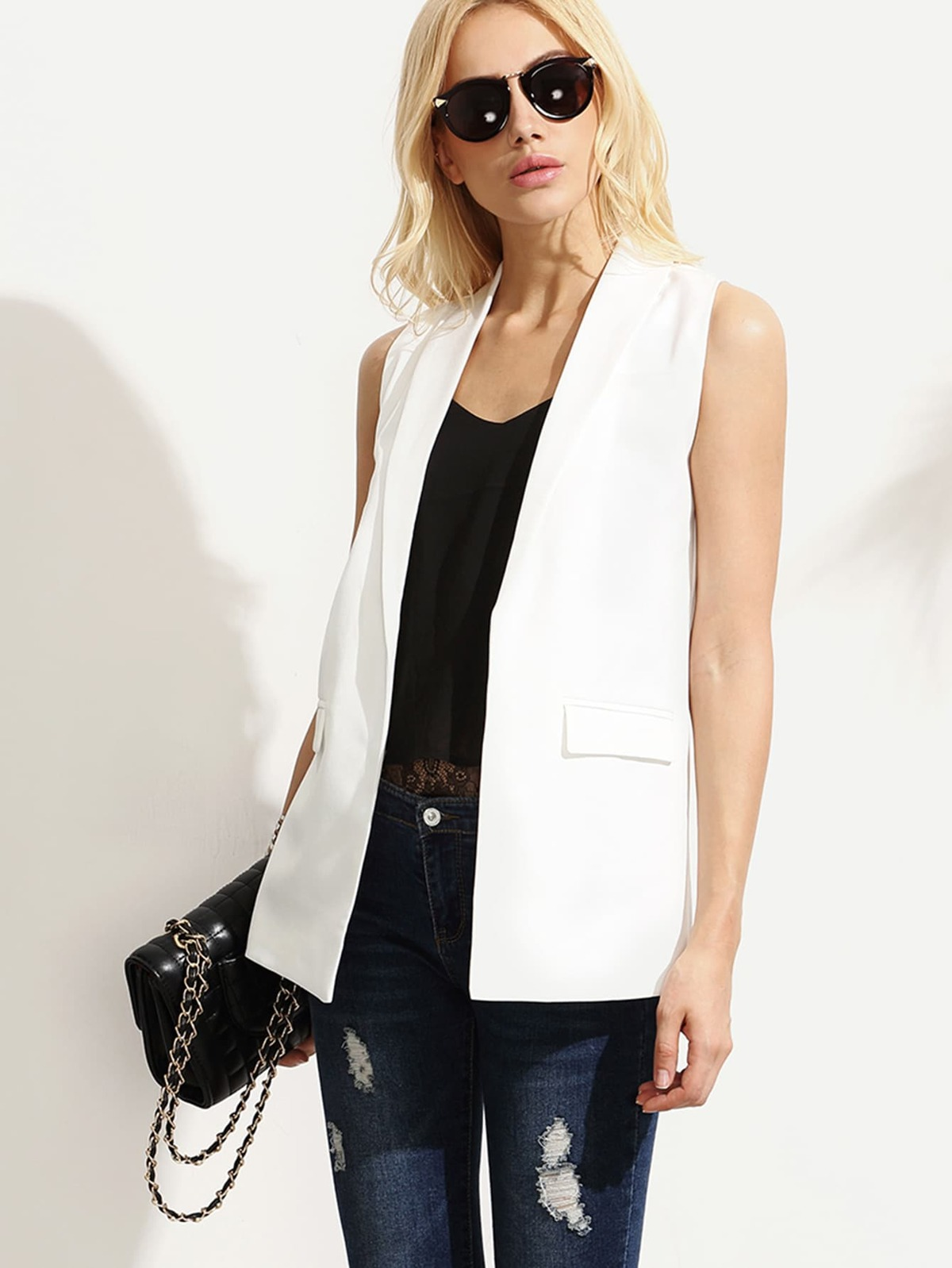 白色 披肩  翻領 無袖 西裝外套