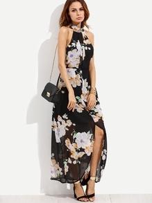 Chiffon Kleid mit Neckholder - schwarz