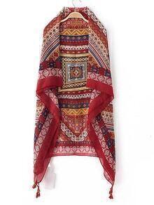 Multicolor Asymmetric Tassel Vintage Scarf