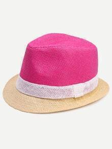 Colorblock Vacation Straw Fedora Hat