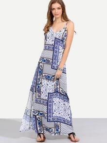 Multicolor Print Spaghetti Strap Backless Maxi Dress