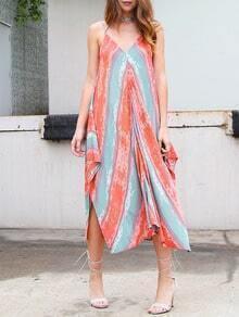Multicolor Sleeveless Backless Asymmetrical Shift Dress