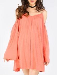 Pink Cold Shoulder Long Sleeve Shift Dress