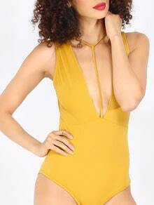 Yellow Sleeveless Deep V Neck Hollow Bodysuit