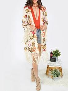 Kimono estampado de flores con borlas -multicolor