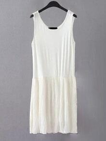 Vestido de tubo sin mangas plisado - blanco