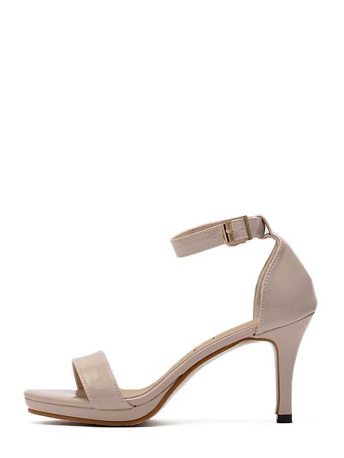 Beige Peep Toe Ankle Strap Stiletto Heels
