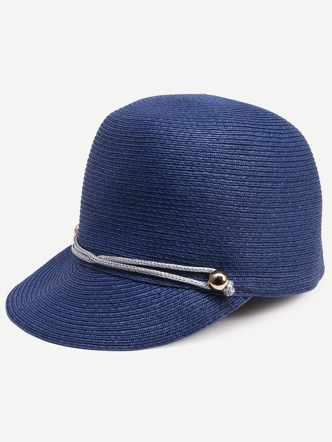 navy adjustable line trimmed straw baseball hat