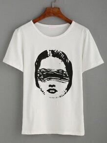 Casual T-Shirt mit Druck - weiß