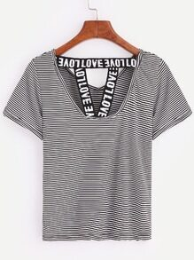 Black and White Striped Letter Print T-shirt
