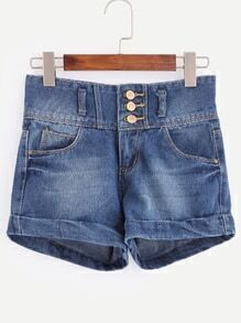 Blue High Waist Single-breasted Cuffed Denim Shorts