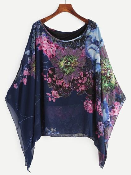 Navy Flower Print Poncho Blouse