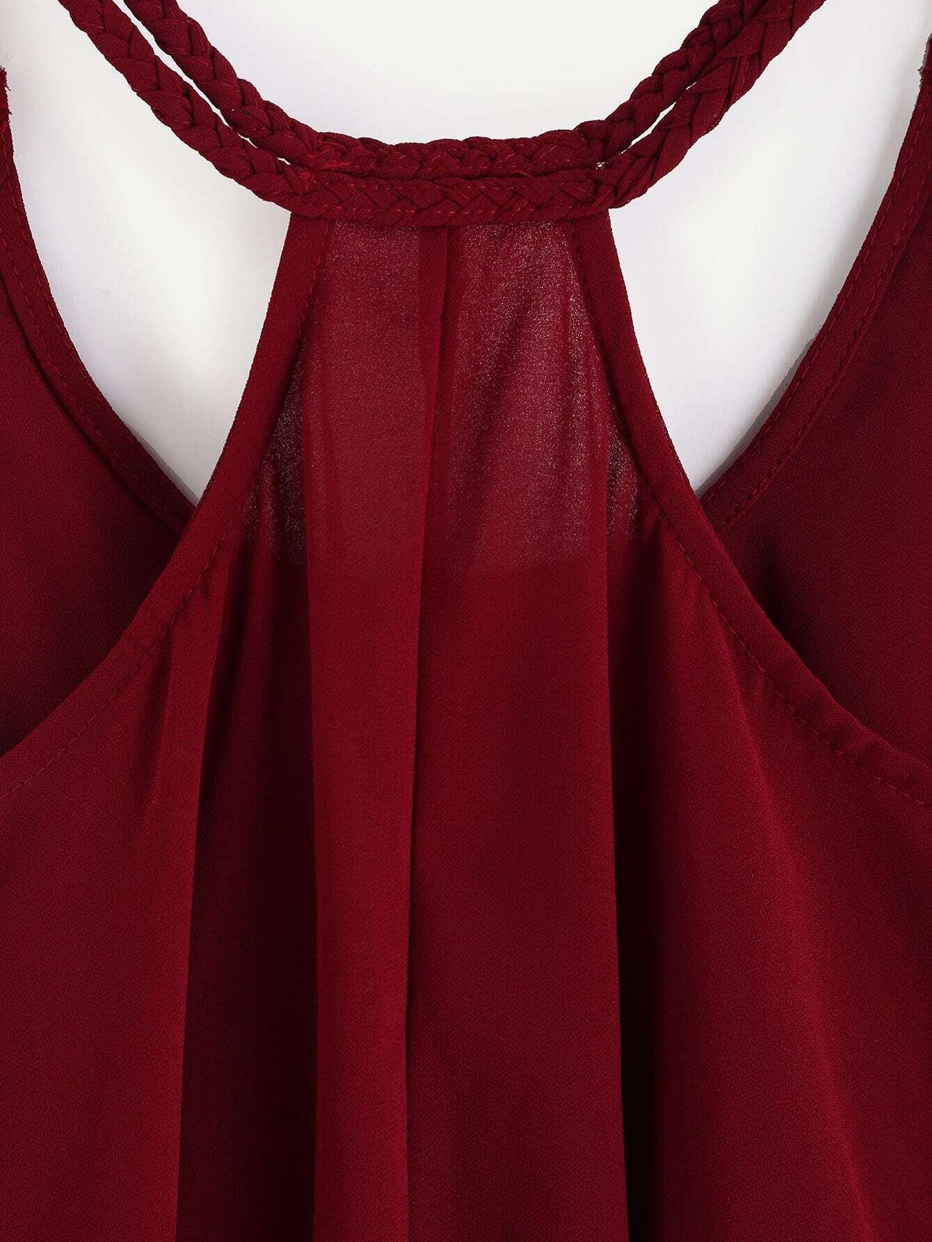 top bretelle couleur unie rouge bordeaux french romwe. Black Bedroom Furniture Sets. Home Design Ideas