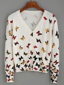 White Butterfly Print V Neck Cardigan