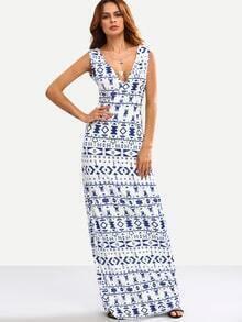Robe longue imprimé tribal col V - blanc