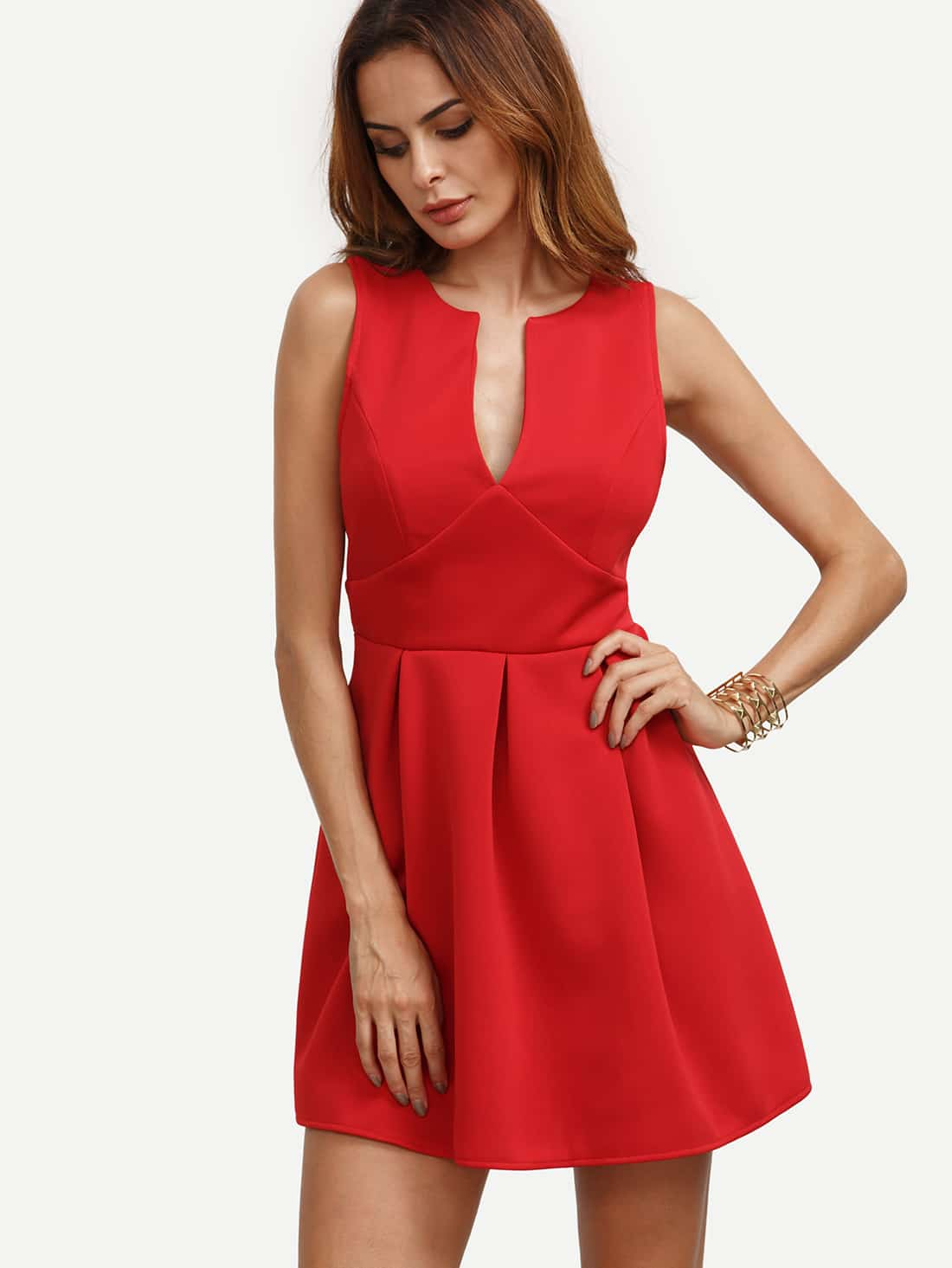 Robe evasee decollete sans manche rouge french romwe for Robe rouge évasée