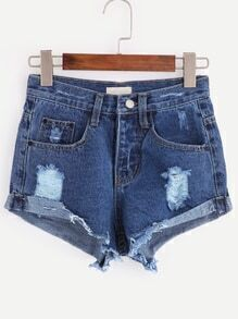 Dark Blue Ripped Raw Hem Denim Shorts