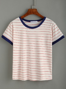 Contrast Trim Striped T-shirt