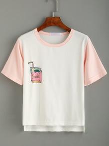 bedrucktes T-Shirt mit abfallendem Saum - weiß