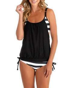 Black  Double Up Striped Mix and Match Tankini Set