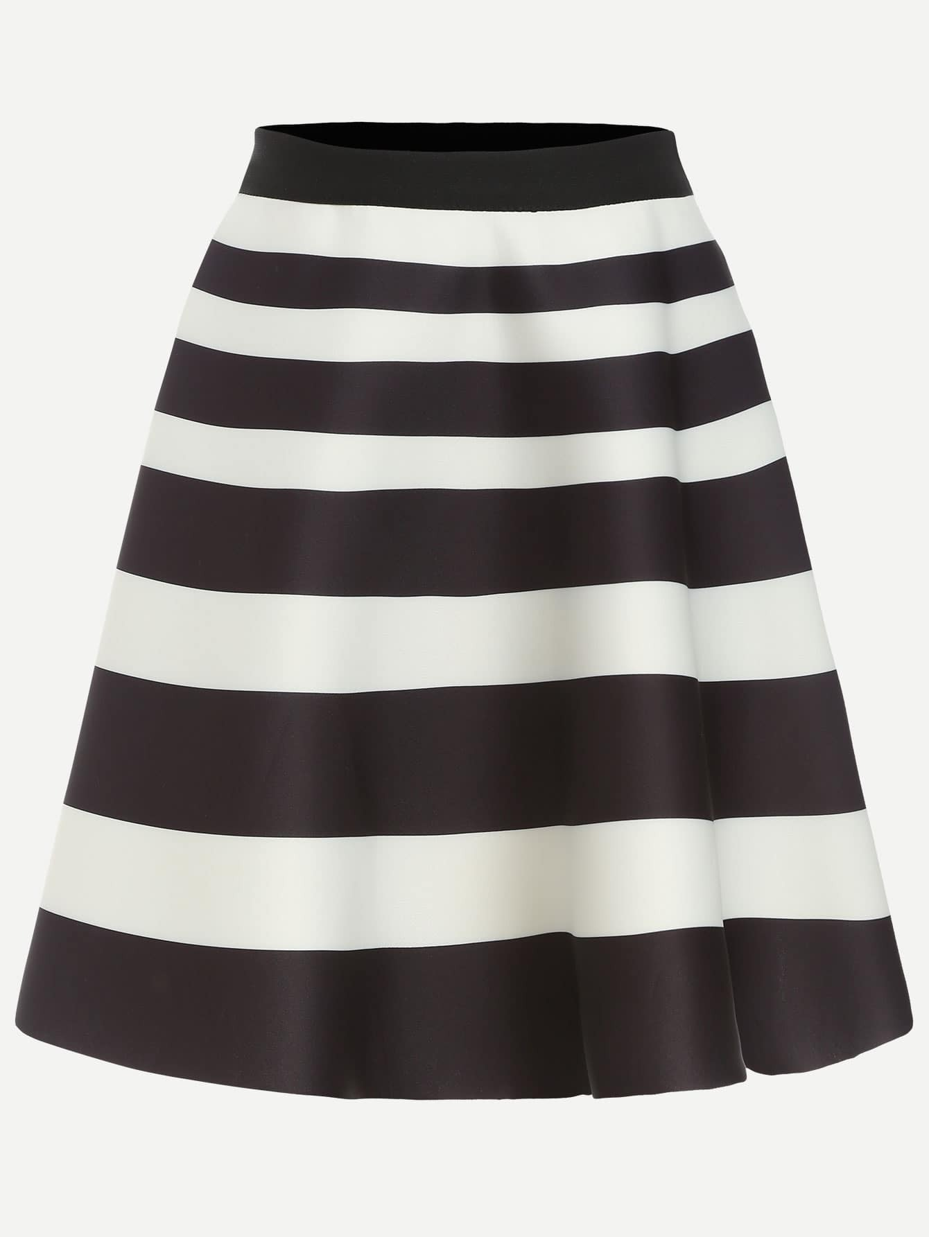 black white striped a line skirt
