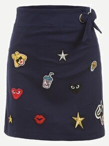 Navy Tie Waist Embroidered Patch Pencil Skirt