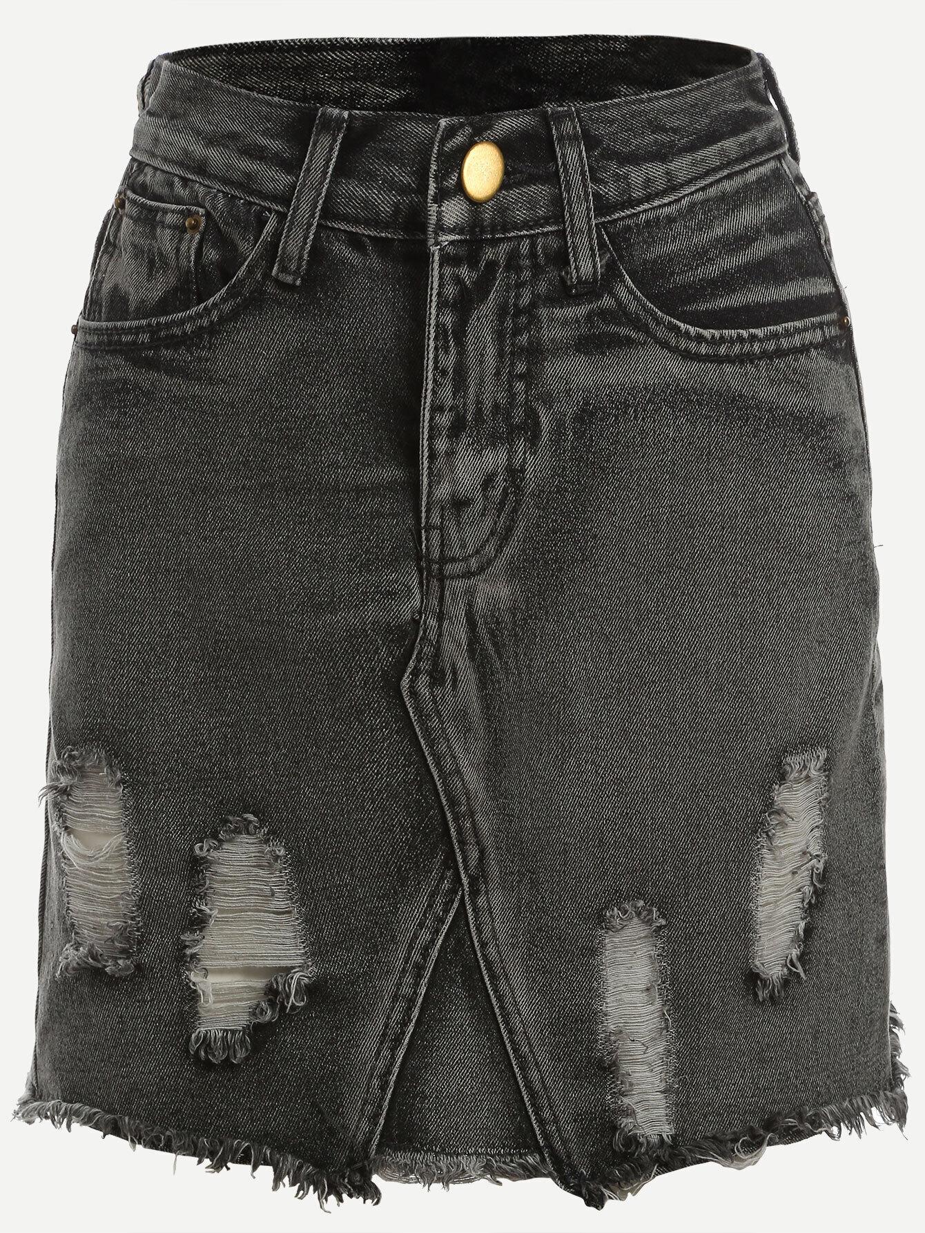 grey ripped hem denim pencil skirt