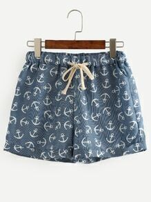 Blue Anchor Print Drawstring Shorts