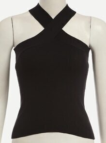 Black Halter Neck Cross Top