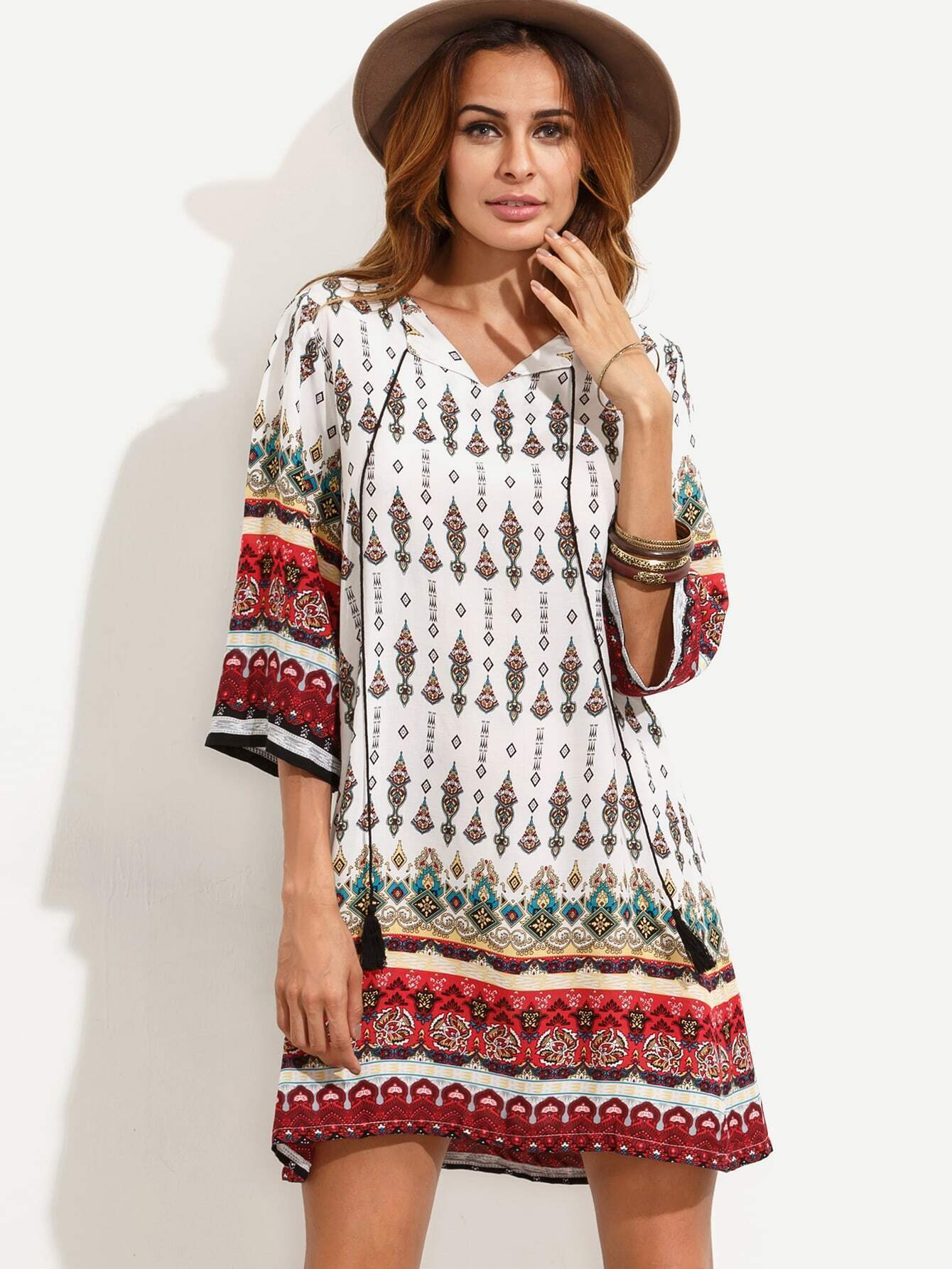robe vintage imprime col avec frange blanc french romwe With tapis chambre bébé avec robe vintage fleurie