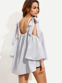 Grey Bell Sleeve Bow Tie Open Shoulder Blouse