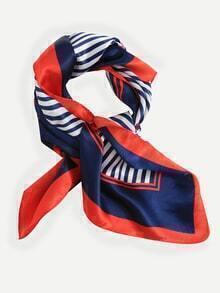 Multicolor Striped Imitated Silk Scarf