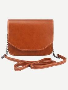 Light Brown Distressed Faux Leather Flap Bag
