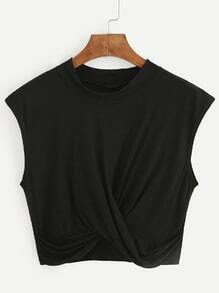 Camiseta crop drapeada - negro