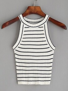 White Striped Ribbed Knit Top