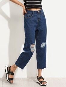 Blue Knee Ripped Raw Hem Boyfriend Jeans