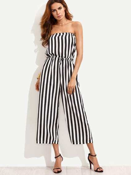 Black White Vertical Striped Drawstring Bandeau Jumpsuit