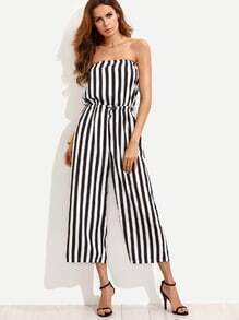 Black White Vertical Striped Drawstring Bandeau Jumpsuit