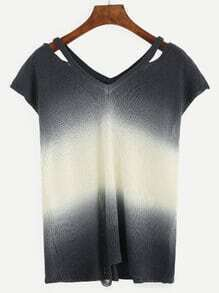 Ombre Short Sleeve Cut Out Sweater