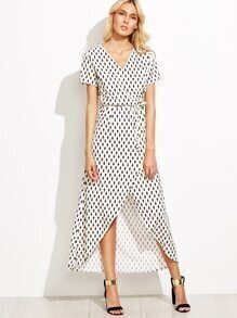 White Geometric Print Self Tie Wrap Dress