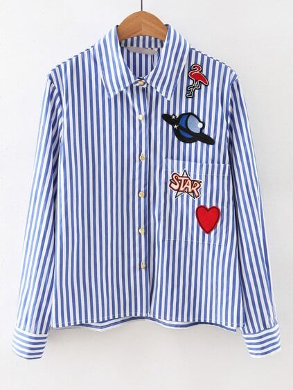Blue Long Sleeve Applique Stripe Blouse