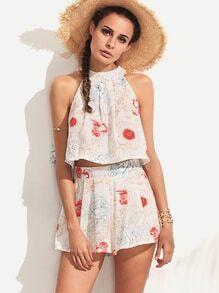 Top halter floral con shorts cremallera